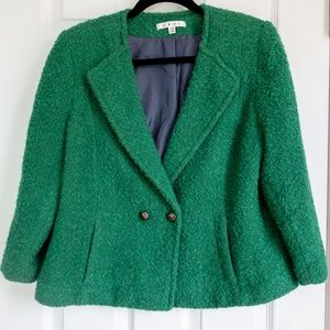 CAbi Kelly Green Ivy Wool Blend Blazer, Size 14
